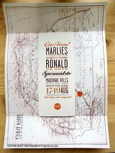 African wedding invite http://www.canvasboutique.co.za/projects/2011/04/07/ronald-marlies-south-african-safari-wedding/