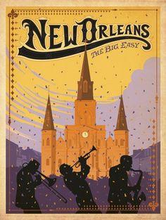 Vintage travel poster New Orleans #Budgettravel