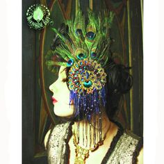 Mata Hari - Bejeweled Peacock Feather Headdress - Art Nouveau / Egyptian Revival Fascinator Headband - by Moonshine Baby. $140.00, via Etsy.