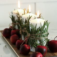 This candle centerpiece takes under 10 minutes to make and the possibilities are endless. Swap out the apples for pumpkins? Easy Christmas Decorations, Holiday Centerpieces, Christmas Table Settings, Christmas Candles, Holiday Tables, Holiday Decor, Natural Christmas, Simple Christmas, All Things Christmas