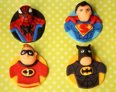 Superhero Cupcake Toppers by SueLousSweets on Etsy, $24.00