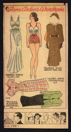 1937 Uncut Jane Arden Newspaper Paper Doll JA31 | eBay