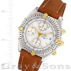 Gents Breitling Chronomat in 18k & stainless steel on leather strap.