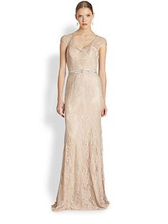 Theia Lace Cap-Sleeve Gown. Wish I had an occasion to wear this dress!