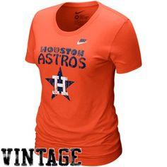 79935d3f6 Nike Houston Astros Ladies Orange Dugout Logo Vintage Tri-Blend T-shirt