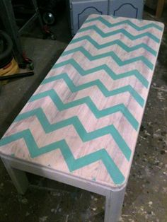 Turquoise Chevron Coffee Table Turquoise Table, Turquoise Chevron, Chevron Furniture, Painted Furniture, Room Ideas, Decor Ideas, Craft Ideas, Chevron Coffee Tables, Apartment Projects