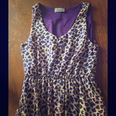 Super cute print dress  Animalier print purple/ nude dress :) worn a few times. ! Looks great with black heel booties! Or just a cute pair of wedges! Method Dresses