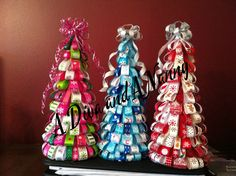 Cute ribbon Christmas trees for sale at the Holiday Marketplace & Expo, at Chattahoochee Technical College in Jasper, GA. Christmas Tree Sale, Christmas Ribbon, Christmas Crafts, Christmas Decorations, Christmas Ornaments, Holiday Decor, Craft Presents, Holiday Market, Topiary