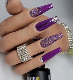 Purple Acrylic Nails, Best Acrylic Nails, Cute Acrylic Nails, Purple Nails, Bee Nails, Polygel Nails, Hair And Nails, Manicure, Acylic Nails
