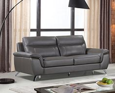 Home Decorators Collection | Cortesi Home Chicago Genuine Leather Sofa Grey  *** Click Image