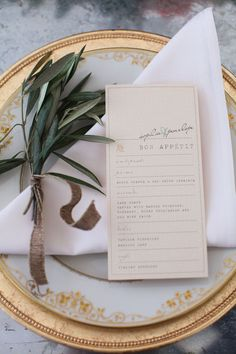 Mediterranean Wedding Inspiration From Hannah Colclazier Photography I Like This One Love The Paper Colour With Very Mild Green Text On There Something Like This Would Be Good Wedding Place Settings, Wedding Menu Cards, Wedding Stationery, Wedding Table, Wedding Reception, Our Wedding, Wedding Invitations, Dream Wedding, Wedding Designs
