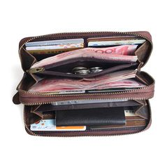 Handmade Men Vintage Genuine Leather Long Wallet Cash Credit Card Photo Bill Holder Wristlet Clutch Business Travel Wallet Checkbook iPhone on Etsy, $45.00