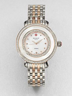Michele Watches Diamond and Mother-of-Pearl Two-Tone Bracelet Watch (=)
