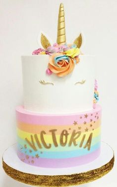 Beautiful Pastel Rainbow Univorn Cake Recipe With Golden Details And A Horn. Perfect For Babyshowers Or A Magical Birthday Party Theme.