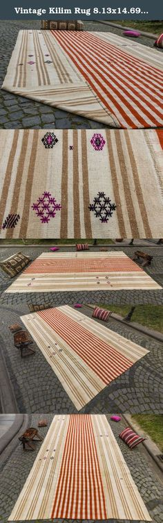 """Vintage Kilim Rug 8.13x14.69 ft (248x448 cm). Beautiful vintage Turkish kilim rug around 50- 60 years old and in very good condition. This kilim was hand-woven in the """"Konya"""" Turkey. Material: 100%wool. Size; 8.13x14.69 ft (248x448 cm) Shipping in 1-3* days *Please note that; we rework all Kilims before ship ( head/end corrections, stretching, border correction,local corrections re-cleaning) We deliver it in perfect condition. Thanks, Ref: U2118."""
