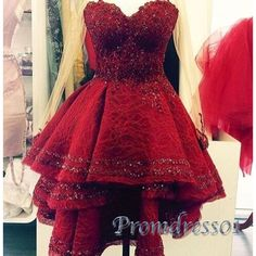 Cute red heavy satin sweetheart short Prom Dress for teens, homecoming dress 2016
