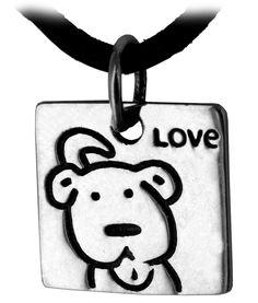 "Puppy Love Sterling Necklace at The Animal Rescue Site; $9.95 Sterling. 0.25"" (0.6 cm). 18"" L (45.7 cm) black cord. Made in Thailand."