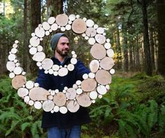 Wood art made from tree branch slices, perfect outside yard art