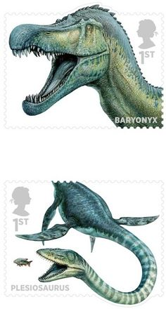 Dinosaurs [and other Mesozoic critters] | John Sibbick | Royal Mail | via @Everything Dinosaur