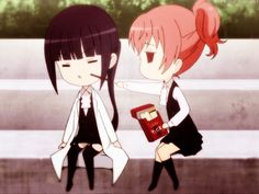 ☆**this is an animated gif~ please click to see the animation!**☆ from 'Inu x Boku SS' ♥ kawaii chibi girls eating pocky, funny faces kawaii reaction image gif