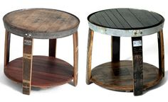 Bar stools made from whiskey barrels