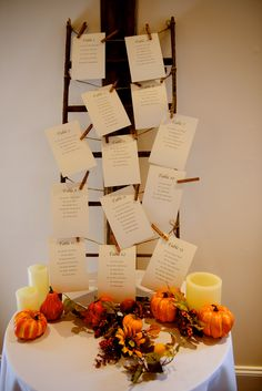 table assignments and the place cards were already at the tables. this seemed like the simplest way to do it!
