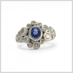 Diamond and Sapphire Handmade Bespoke Statement Ring Silver Gold Platinum Palladium Contemporary Statement Ring Bubbles Rubover