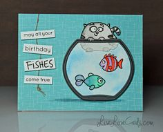 Birthday Fishes - see the video tutorial! It's Your Birthday, Birthday Cards, Paper Smooches, Creative Inspiration, Handmade Cards, Stamps, Fishing, Card Making, Paper Crafts