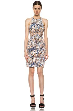 STELLA MCCARTNEY Neon Abstract Printed Dress in Bright Orange