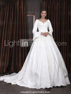 LONG SLEEVE WEDDING DRESSES | Ball Gown V-neck Long Sleeve Satin Luxury Wedding Dress With Beaded ...