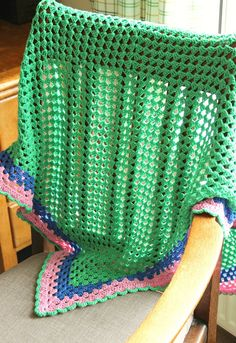 Gorgeous green granny crochet triangle shawl. by ZeensandRoger