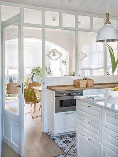 Home Interior Kitchen .Home Interior Kitchen Interior Design Kitchen, Room Interior, Closed Kitchen Design, Interior Windows, New Kitchen, Kitchen Decor, Kitchen Ideas, Half Wall Kitchen, Kitchen Walls