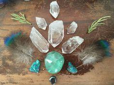 Aqua Crystal Grid with Quartz Points Rainbow by TheLunarFae