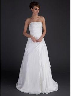 A-Line/Princess Strapless Floor-Length Chiffon Satin Wedding Dresses With Ruffle Beadwork | Wedding Dresses | Faseeon.com