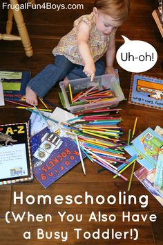 Homeschooling When You Have a Baby or Toddler - or Both!  Tons of practical tips in this post.  Scheduling tips with sample schedules, activities for toddlers and preschoolers, and more. Great resource!