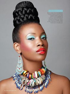 I like the styling of the hair and jewelry.   Ok Magazine Nigeria issue 2  Hair: Angela Plummer  Photographer: Abi Oshodi  MUA: Joy Adenuga assisted by Erika Thomas Mua Stylist - Lauren Miller