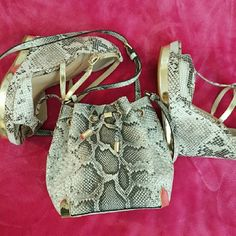 Vince. C* [Snake Skin X-Body Bucket Bag] + Drawstring Mini Bucket Bag + Gold Accent Hardware + X- Body Adjustable Strap + Small yet spacious inside + New Unused Vince Camuto Bags Crossbody Bags