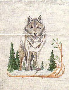 Wolf - Counted Cross Stitch  Stitched this one twice and both times could not get a photo.
