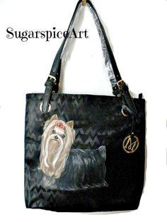 Yorkie Hand Painted Show Yorkie Handbag Purse Bag by SugarspiceArt