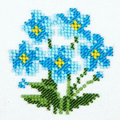cam-boncuklarla-unut-beni-cicegi-isleme with glass-bead-forget-me-blossom-tillage Tiny Cross Stitch, Cross Stitch Borders, Cross Stitch Flowers, Cross Stitch Designs, Cross Stitching, Cross Stitch Embroidery, Embroidery Patterns, Hand Embroidery, Cross Stitch Patterns