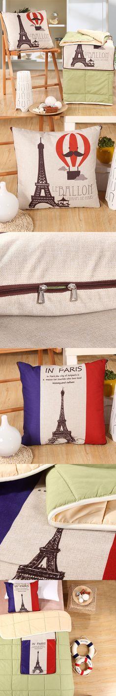 Eiffel Tower Printed Pillow Blanket Cartoon Hot Air Balloon and Letter Decoration Flax Cotton Cushion Blanket Home Textiles