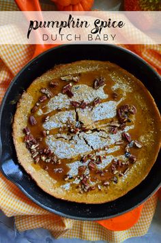 This recipe for a Pumpkin Spice Dutch Baby is sure to be a new fall favorite recipe for weekend brunch or holiday entertaining! Best Dessert Recipes, Sweets Recipes, Baby Food Recipes, Breakfast Recipes, Desserts, Yummy Recipes, Pumpkin Recipes, Fall Recipes, Dutch Baby Pancake