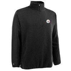f8026e1b Get this Pittsburgh Steelers Black Executive Half-Zip Cotton Rib Sweater at  ThePittsburghFan.com