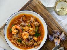 Receta de arroz caldoso con almejas y gambas