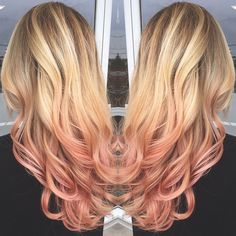 Rose gold ombre and blonde Balayage by @kellymccormickhair #ombre #rosegold #blondebalayage #ombrehair