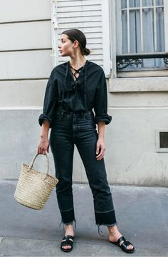 wicker basket bag | rachel comey slim legion jeans | Tome shirt | Style | Outfit | HarperandHarley