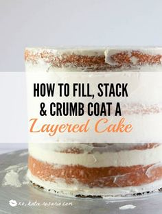 How to Fill, Stack and Crumb Coat a Layered Cake - XO, Katie Rosario What's the key to avoiding lumpy, crumby frosting or slanted layers? Filling & frosting your layered cake with an expert stack and crumb coat is really important. Creative Cake Decorating, Cake Decorating Techniques, Cake Decorating Tutorials, Creative Cakes, Decorating Ideas, Professional Cake Decorating, Cake Decorating Icing, Cake Decorating For Beginners, Crumb Coating A Cake