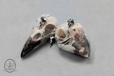 Colliers crânes de rouge-gorges. Moulages, Argent 925. Crane, Charcuterie, Cufflinks, Accessories, Red, Bijoux, Wedding Cufflinks, Ornament