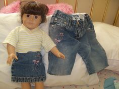 Matching girl/ AG doll clothes...cut off leg from jeans with a torn knee made the perfect doll skirt ...so easy!
