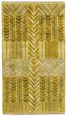 Märta Måås-Fjetterström and Marianne Richter; Flat Weave 'Barley and Hops' Wool Carpet, 1960.